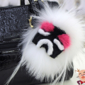 Fashion leather wallet Pom Pom real fur monster plush doll keychain charm golf cart bag pendant strap Bag Accessories plush toys