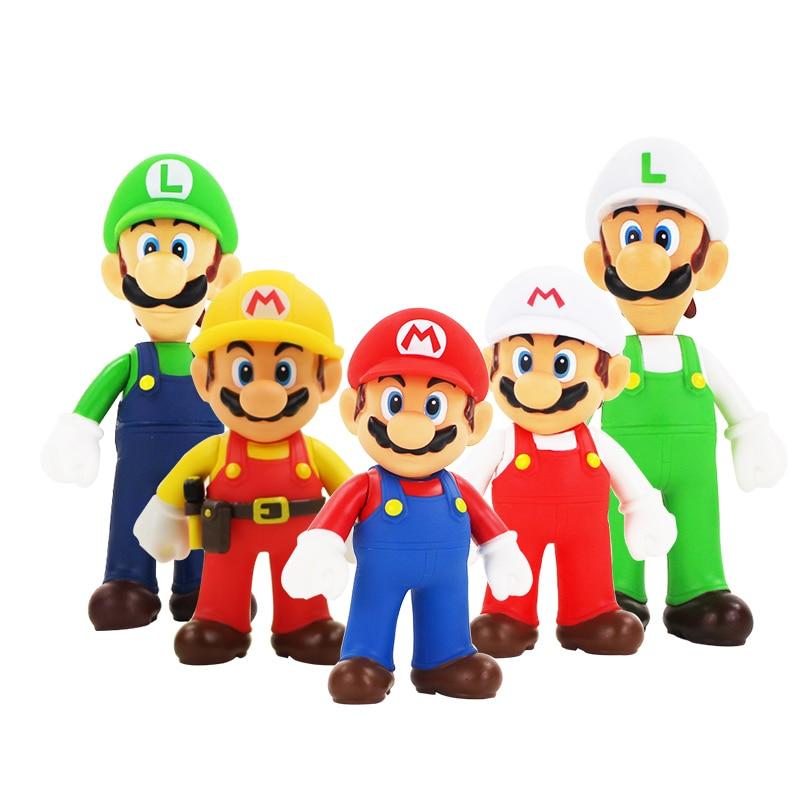 12cm Super Mario Bros Mario Luigi Repairman Mario PVC Figure Cartoon Model Toys Doll For Baby Kids Gifts