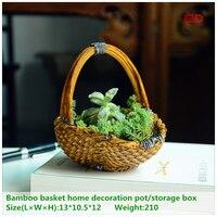 ED Original Quality Design Resin Artificial Bamboo Basket Pastoral Fairy Garden Home Decoration Pot Storage Box