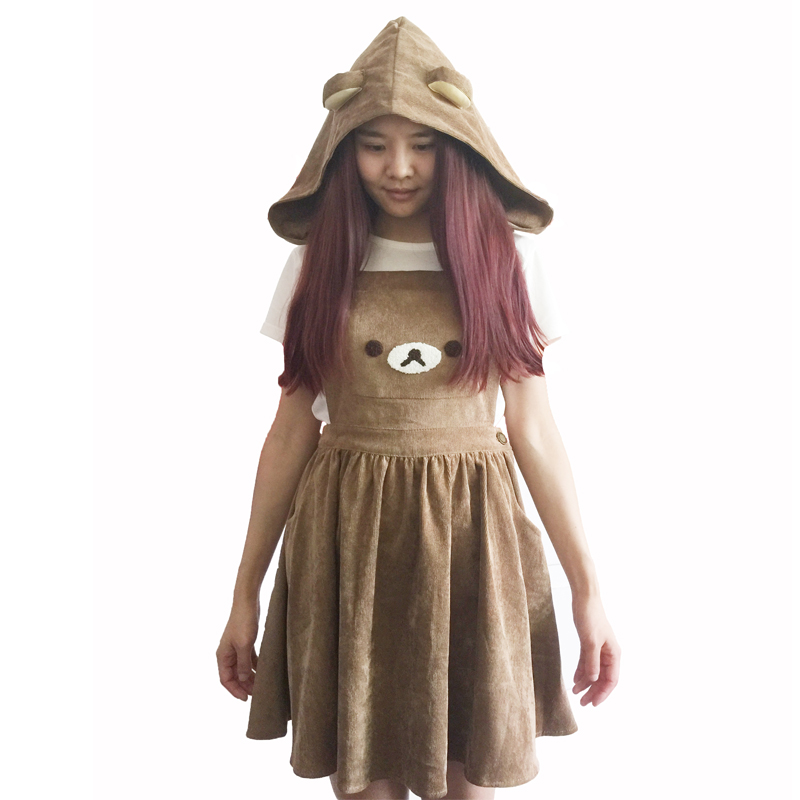 Home Romantic Rilakkuma San-x Kawaii Gaun Salopette Beruang Bordir Lolita Keseluruhan Rok Et Chapeau Robe Cosplay 50% OFF