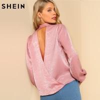 SHEIN Blouse Women Asymmetrical Long Sleeve Blouses Women Sexy Backless Pink Deep V Neck Cut Out