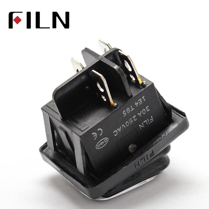 Водонепроницаемый 4-контактный тумблер, DPST IP67, T85, 30 А/250 В, светодиод 12 В, 220 В, 30 х22