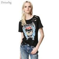 Womens New Fashion Skull Letters Print T-Shirt Female Casual Short Sleeve Holes Punk Style Stretch Black T Shirt Tops Tees SH256