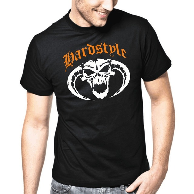 72a9b0d8 LEQEMAO 2017 Men's Fashion Fashion Men Hardstyle Skull Gabber Hardcore  Totenkopf Music DJ t shirt design template T-shirt
