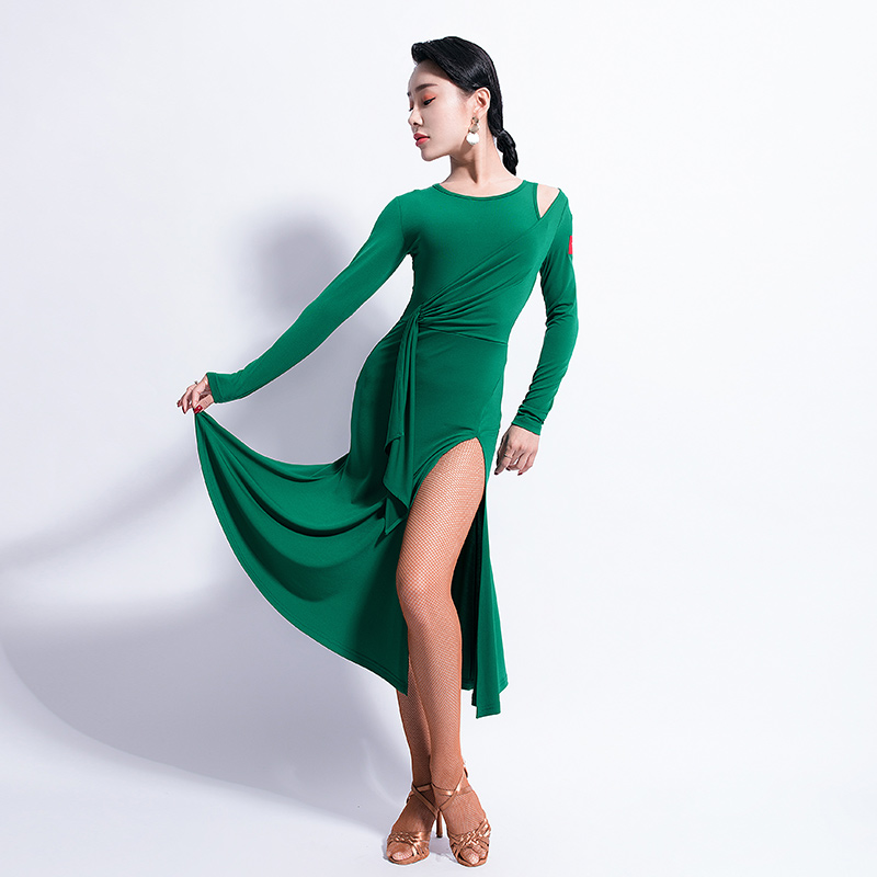 Latin Dance Dress Ladies Fashion Round Neck Long Sleeve Slit Skirt Shoulder Hollow Women Dancing Clothes