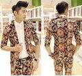 2016 hombres de La Vendimia Floral Slim-fit Partido Masculino Blazer, Super Cool con Un Solo Botón Chaqueta de Traje de Moda de Algodón de Manga de Tres Cuartos