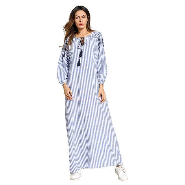 Babalet Womens  Casual Loose Lace-up Ethnic Style Vertical Stripes Long  Sleeve Long Maxi Muslim Abaya Tunic Maternity Dress cdcb6eafa30f