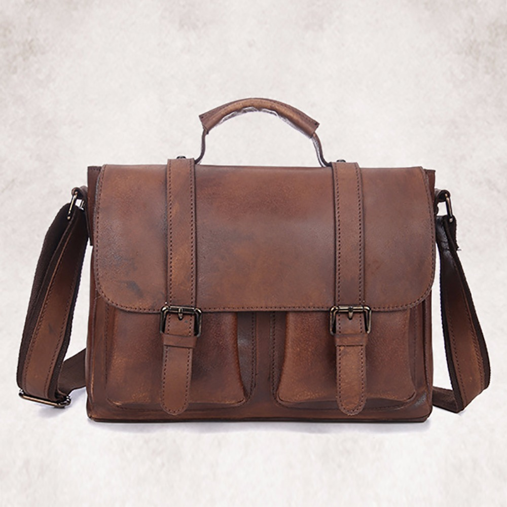 High Quality Men Genuine Leather Messenger Bag Travel Crossbody Shoulder Bags Laptop Tote Handbag Cowhide Business Briefcase New genuine leather crossbody messenger shoulder bag men business cowhide tote high quality travel casual male bags lj 962