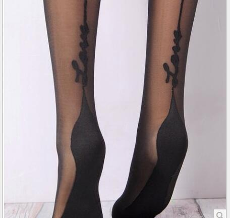 Summer Women Sexy Black Stockings Pantyhose Love Letter Printed Fashion Mesh Tights