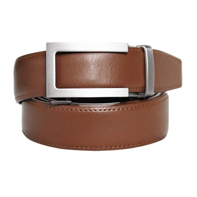 High Quality Men's Ratchet Click Belt Genuine Leather Dress Belt For Men Jeans Holeless Automatic Sliding Buckle Brown Belts