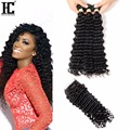 HOT Brazilian Deep Wave With Closure Unprocessed Virgin Brazilian Hair 3 Bundles With Closure Unice Hair With Closure HC Cheap