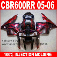 7gifts Custom Injection molded motorcycle for HONDA CBR600RR fairings kit 2005 2006 CBR 600 RR 05 06 red flame fairing parts