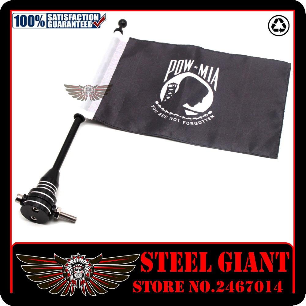 Motocycle Rear Side Mount Luggage Rack Vertical Flag Pole American Flagpole Mount and Flag (POW MIA)&Pro Pad Marine Corps