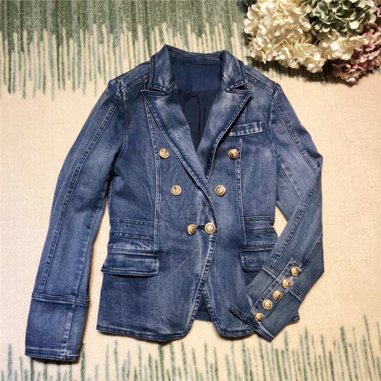 New arrival 2018 spring autumn fashion women cotton denim blazer double breasted gold color buttons slim jackets outerwear blue