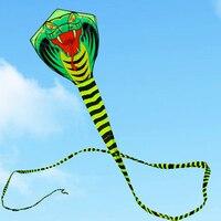 Бесплатная доставка Высокое качество 15 м большой змей Летающий Змей кобра кайт с ручкой линии Открытый игрушечные лошадки для взрослых пти...