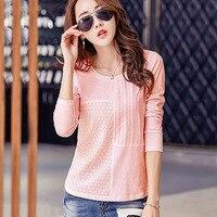 BOBOKATEER Long Sleeve T Shirt Women T Shirts Cotton O Neck Tee Shirt Femme Embroidery T