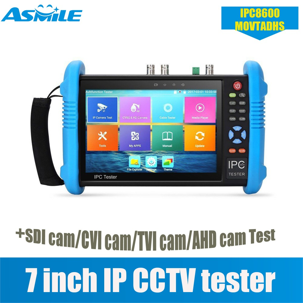10 in 1 full function 7 Touch Screen IP CCTV Color LCD Security Tester AHD SDI TVI CVI Analog Cameras TESTER IPC8600MOVTADHS