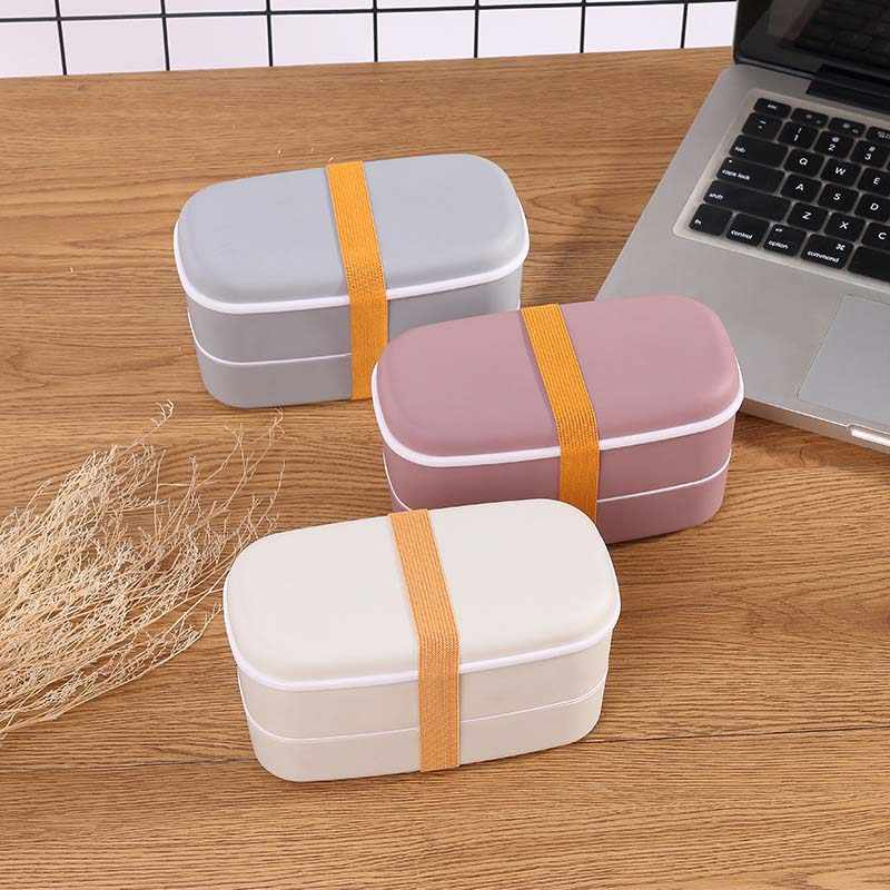 600ml Healthy Material Lunch Box 2 Layer Wheat Straw Bento Boxes Microwave Dinnerware Food Storage Container Lunchbox