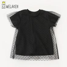 Welaken/модные футболки для маленьких девочек в стиле пэчворк; сетчатая футболка в горошек; Новинка года; футболка с короткими рукавами; повседневная одежда для маленьких девочек