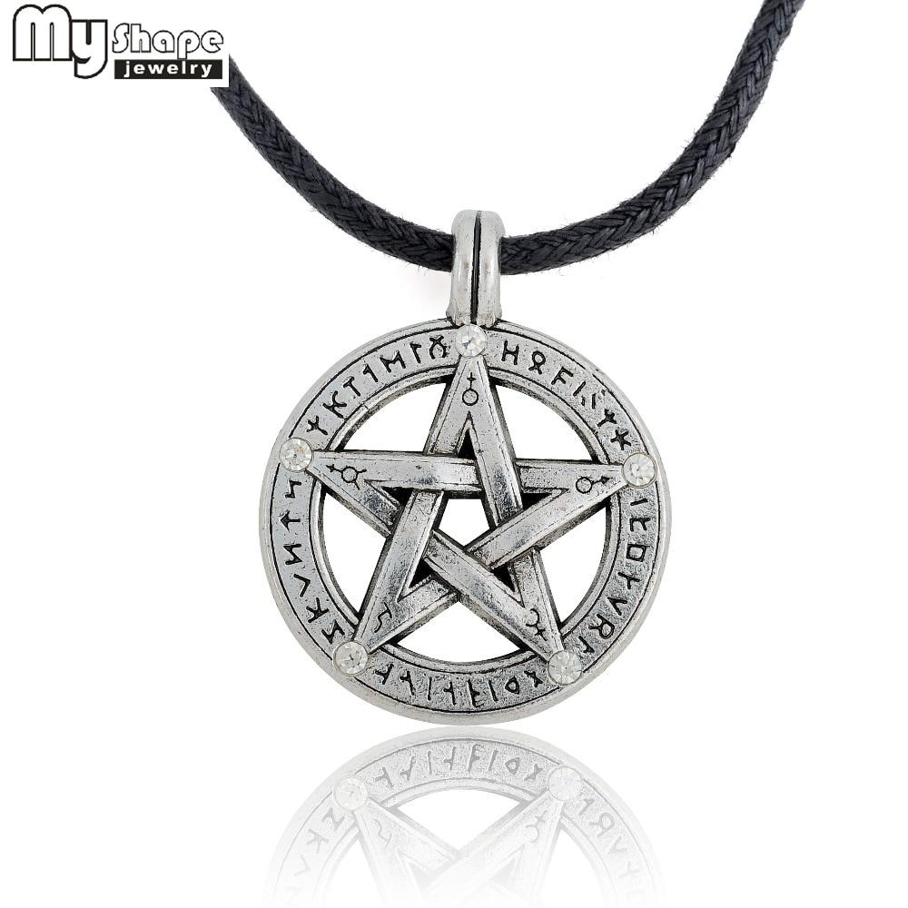269648ae5b89 Mi forma del Pentáculo pentagrama colgante collar de hombres bruja  protección estrella amuleto collar de cuero cuerda cadena