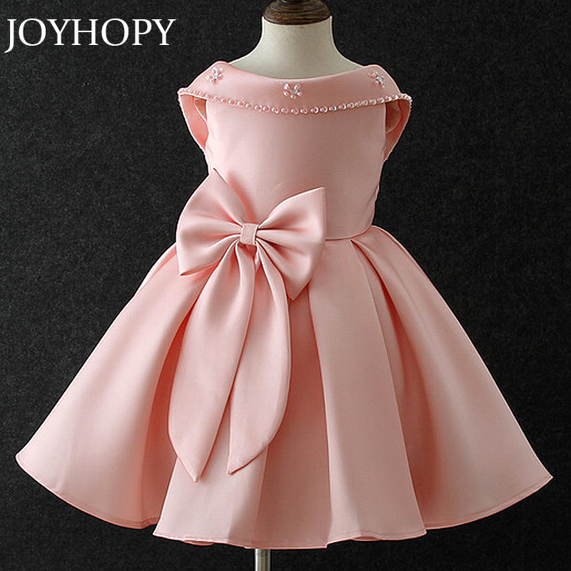 JOYHOPY Girl Wedding Dresses For Kids Party Wear Children Summer Party Princess Wedding Dress Big Bow  Baby Girl Clothes girl