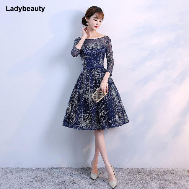 New Arrival Elegant Sweetheart Short Prom Dresses 2018 New Navy Blue