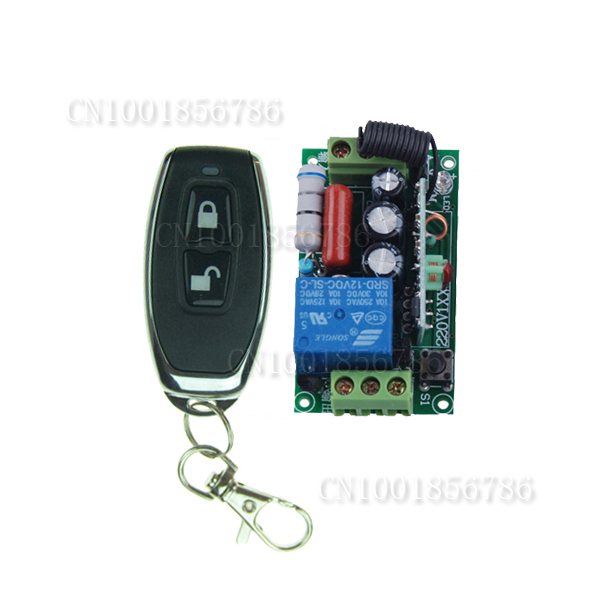 ac 220v 1ch 10a wireless remote control power switch system receiver & remote controller for light lamp led 315 433mhz AC 220V 1CH 10A Remote Control Switches 315mhz Light Lamp LED Power Wireless Controller Relay Receiver Transmitter Lock Unlock