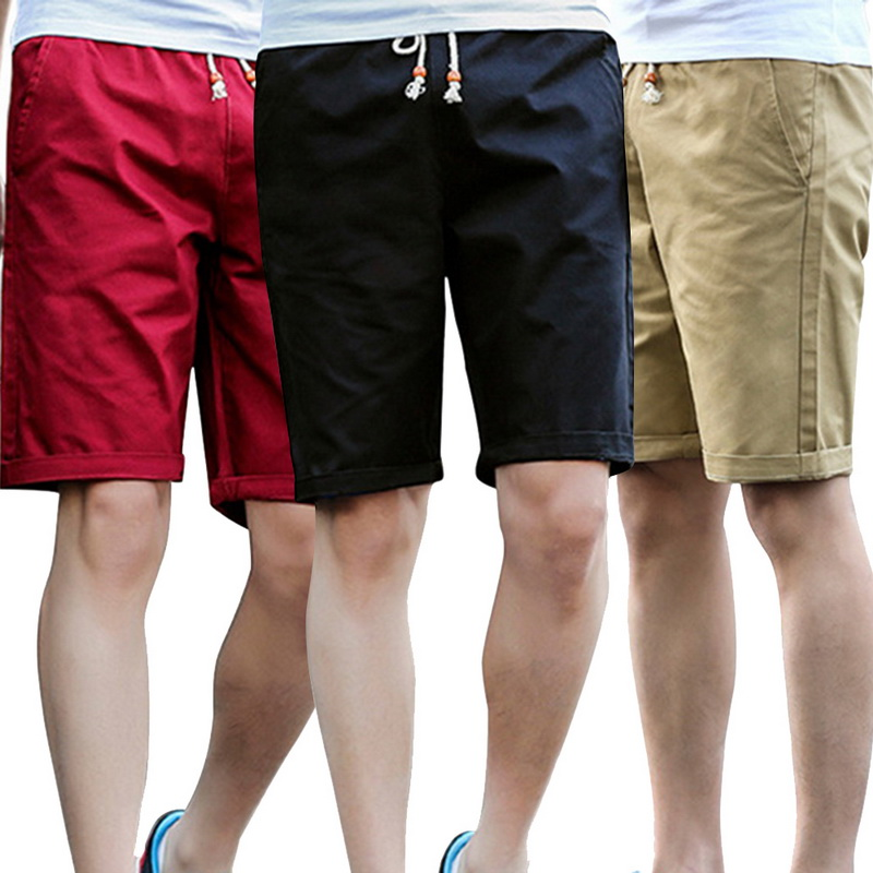 CYSINCOS Cotton Shorts Joggers Cool Solid-Color Plus-Size Breathable Casual Leissure