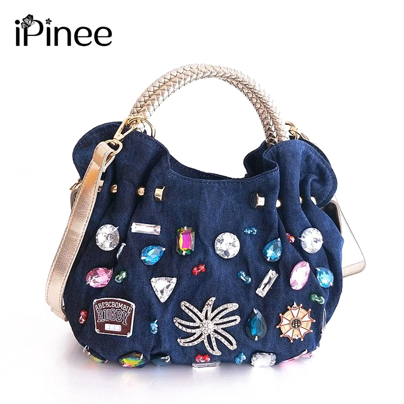 iPinee New Women Denim Bags Sweet Blue Pattern High Quality Handbags With Diamond Ladies Tote Bag Messenger Bags
