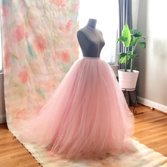 Blush Pink Tulle Wedding Skirt with Train High Quality Extra Puffy 9 Layers Tulle  Long Maxi Skirt Bridal Skirt Custom Made f0d0bd2fced7