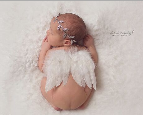 Europe and America hand-made golden leaf &Angel wings infantile lovely newborn baby photography props