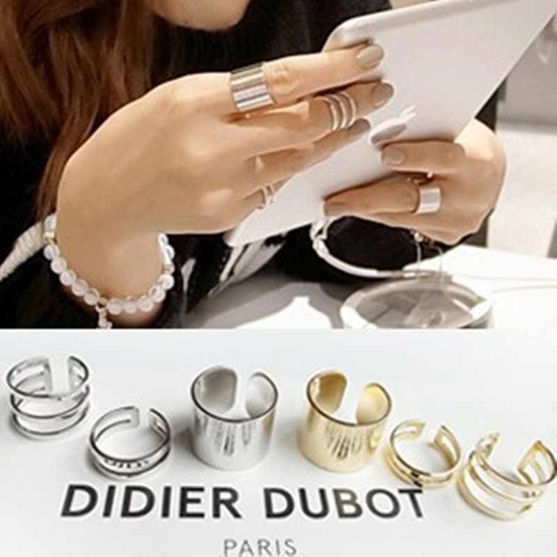 J112  silver ring 3 pcs Shiny Punk  Band Midi Mid Finger Knuckle Ring Set high quality 2 colors wholesale  rings