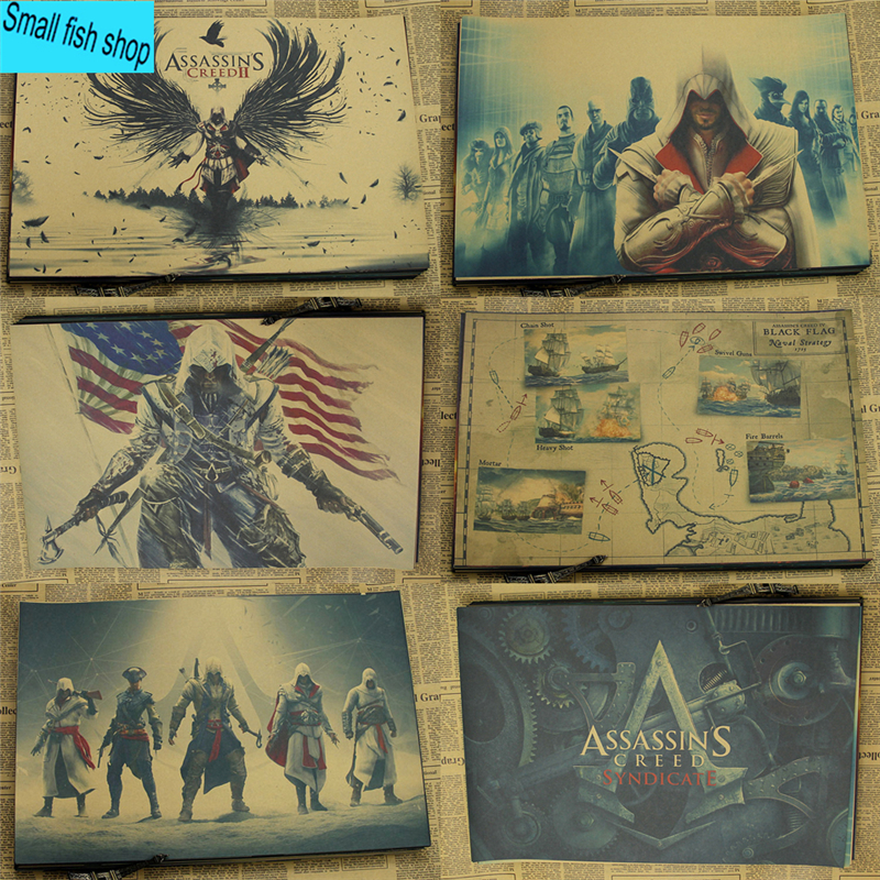 Assassin's Creed Black Flag B gather Game Poster Home Furnishing decoration Kraft Game Poster Drawing core Wall stickers