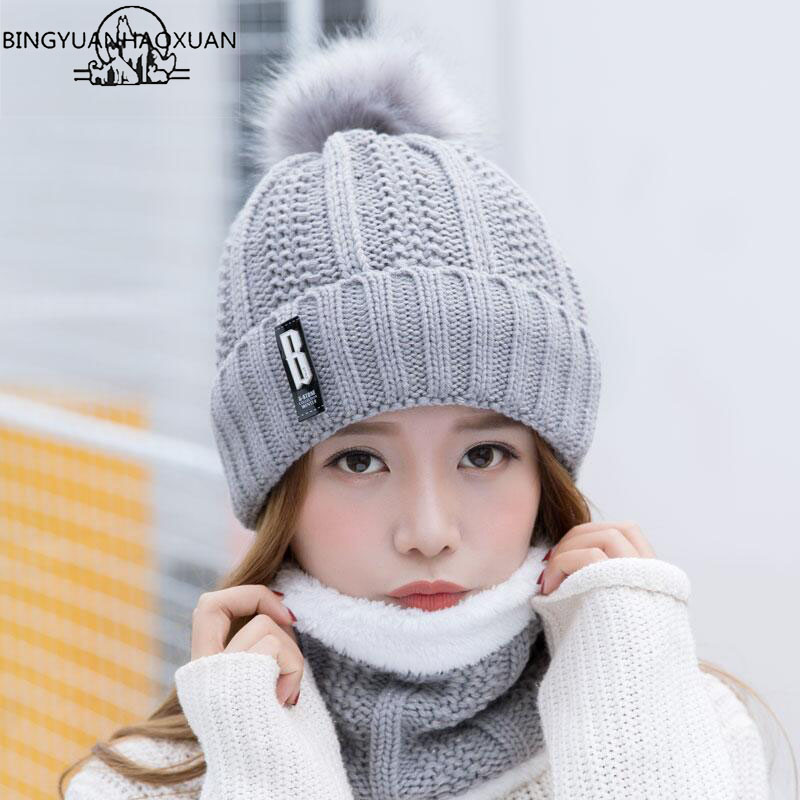 BINGYUANHAOXUAN B letters knitted Hat Women Brand High Quality Winter Women Ball Ski Rabbit Fur Hat PomPoms Hats knitted scarf(China)