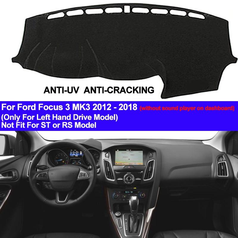 TAIJS Car Dashboard Cover Dash Mat For Ford Focus 3 MK3 2012 2013 2014 2015 2016 2017 2018 Dashmat Pad Anti-slip Carpet ANti-UV