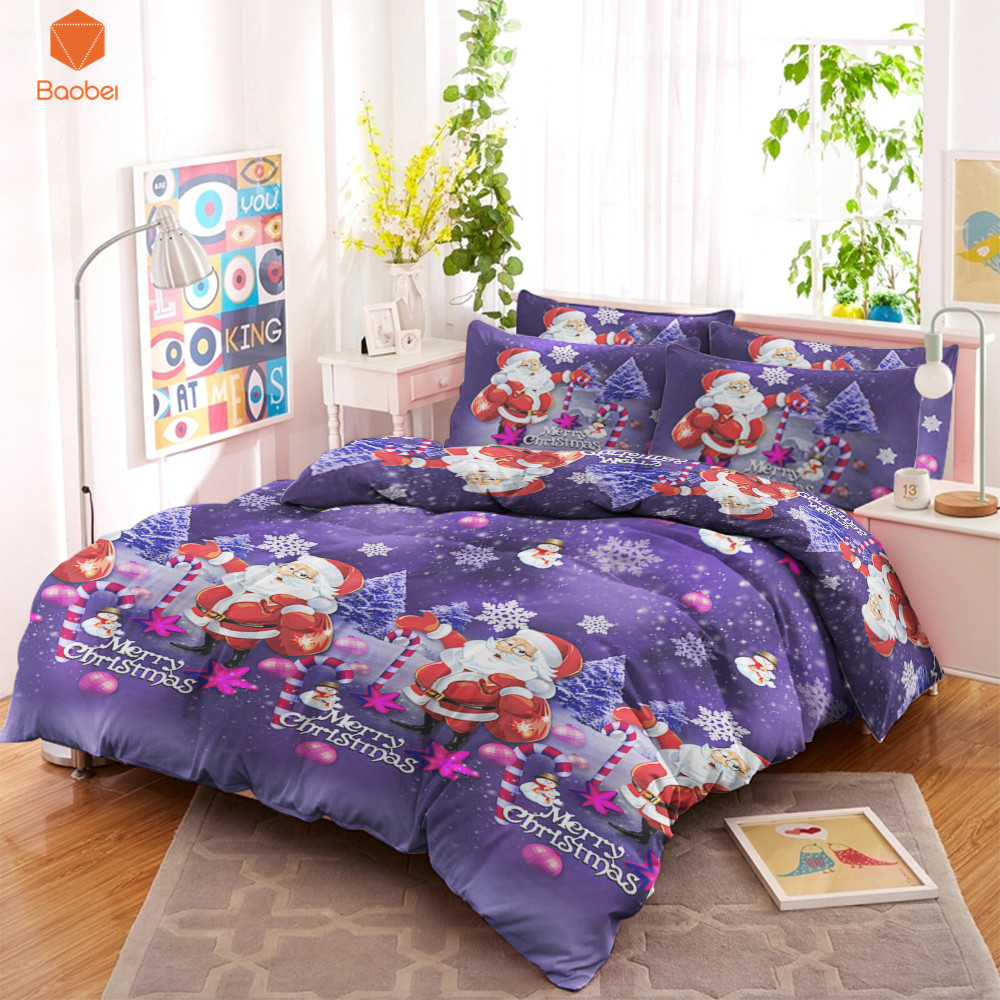 3D Merry Christmas Bedding Set With Pillowcas Cartoon Bed Duvet ...