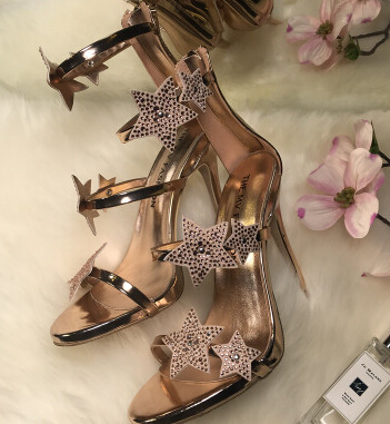 49a9135cc5 US $52.8 25% OFF|Platform Three Straps With Crystal Stars Women Shoes  Patent Leather Sandals Rose Gold Metallic Silver Women Sandals High Heels  -in ...