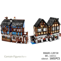 Lepin Castle 16011 New 1601Pcs Medieval Market Village Building Blcoks Bricks Fun Hot Toys For Children