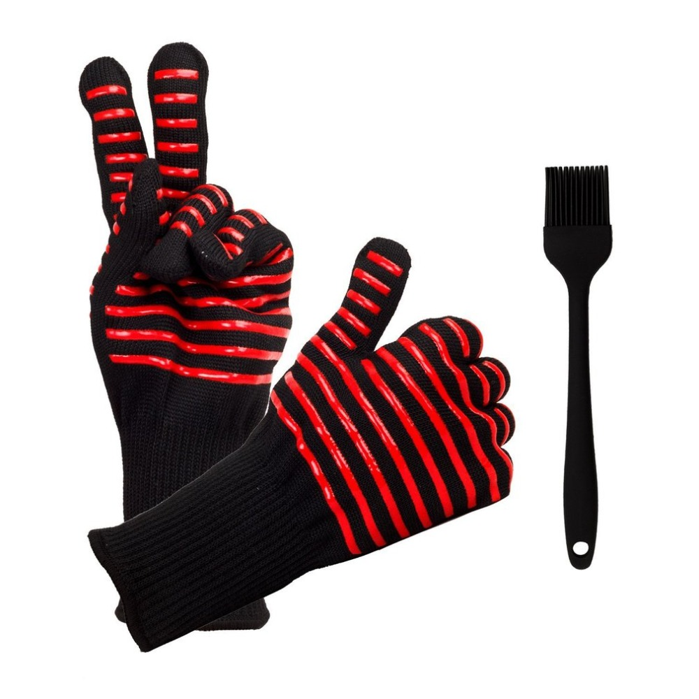 Oven Mitts Gloves BBQ Grilling Cooking Gloves - 932F Extreme Heat Resistant Gloves Long For Extra Forearm Protection new design silicone bbq gloves grilling bbq gloves heat resistant gloves oven mitts en 407