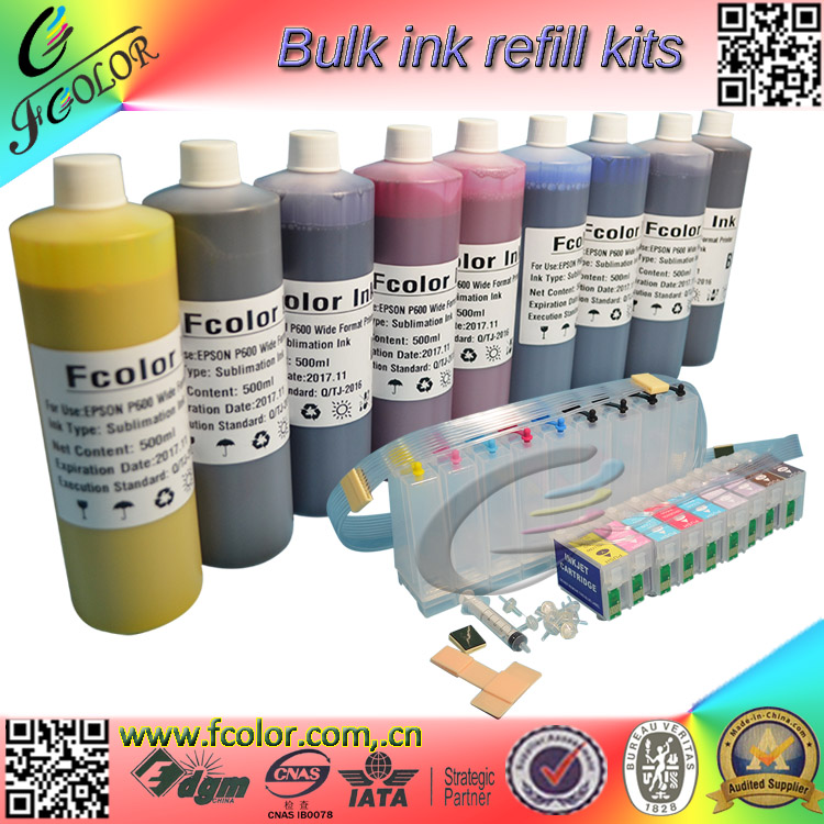 Bulk CISS with ARC Chip and 500ml bottle * 9 color P600 Dye Sublimation Ink Refill Kits For Heat Transfer Printing free shiping r2400 sublimation ink ciss with transfer ink and arc chip for 8color cis r2400