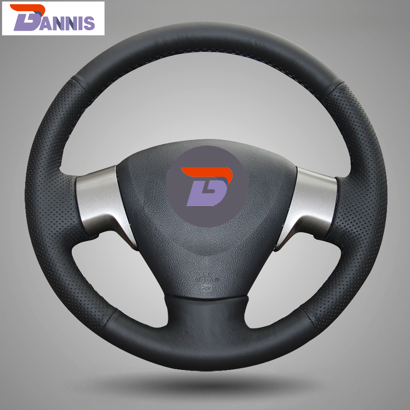 BANNIS Black Artificial Leather DIY Hand Stitched Steering