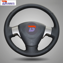 BANNIS Black Artificial Leather DIY Hand-stitched Steering Wheel Cover for Toyota Corolla 2006-2010 Toyota Corolla EX