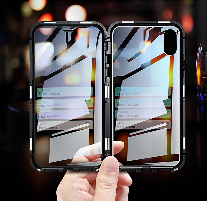 Luxury Double glass Metal Magnetic Case for iPhone XS MAX iPhone X XR 7 8 Plus 8plus Phone Case Magnet Cover 360 Full Protection (2)