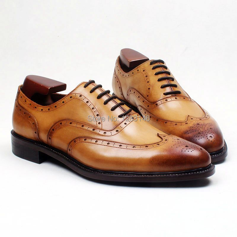 obbilly Handmade Genuine Calf Leather Breathable Upper/outsole/Insole Brown Goodyear Welted Round  toe Men's Flats Shoe No.ox573 genuine leather wedges sweet round toe pure color martins ladies boots chains mid calf gum rubber outsole insole increase