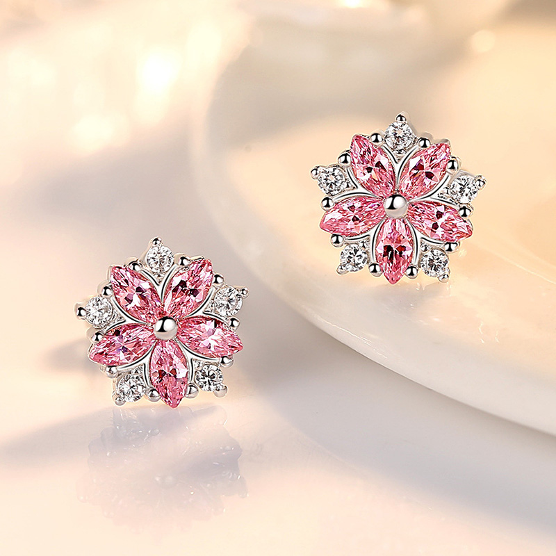 Luxury Small Flower Stud Earrings for Women Girls Fashion Kpop Pink White Cubic Zirconia Crystal Earring Minimalist Jewelry Gift