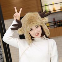 Winter double warm fur hat, antler, thunder front hat, outdoor, and velvety thick ear hat.