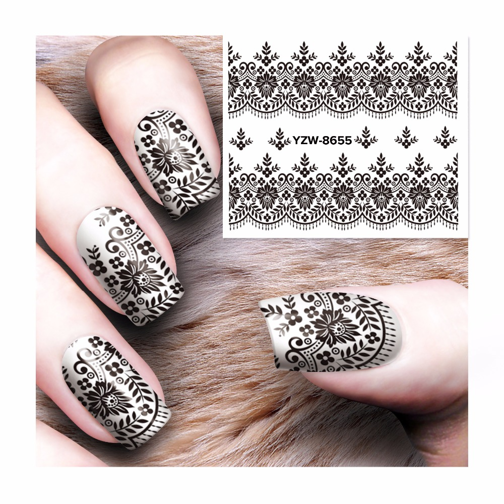 WUF 1 Sheet Black Lace Water Transfer Sticker Nail Art