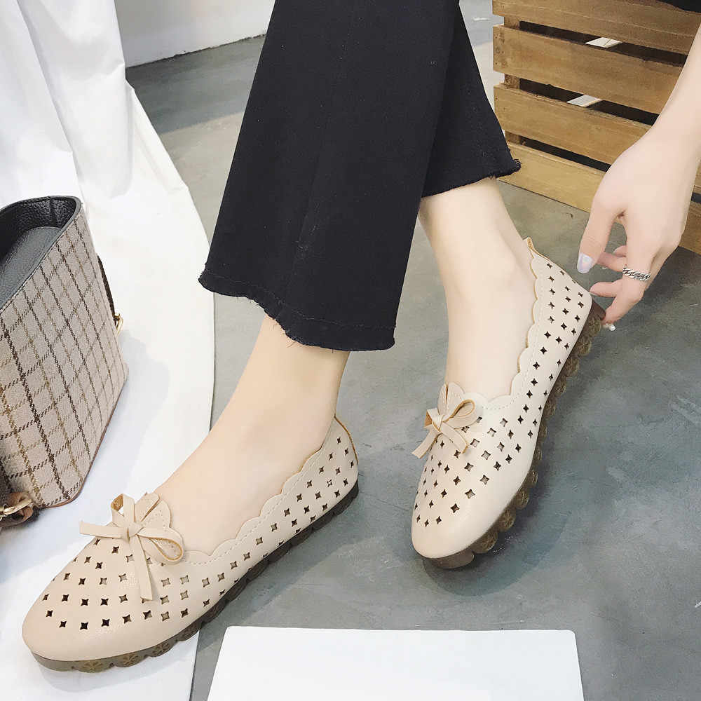 New Spring Autum Hollow Out Fashion Casual Flat Shoe Breathable Women's Soft Outdoor Leisure Singles Shoes Peas Boat Shoes
