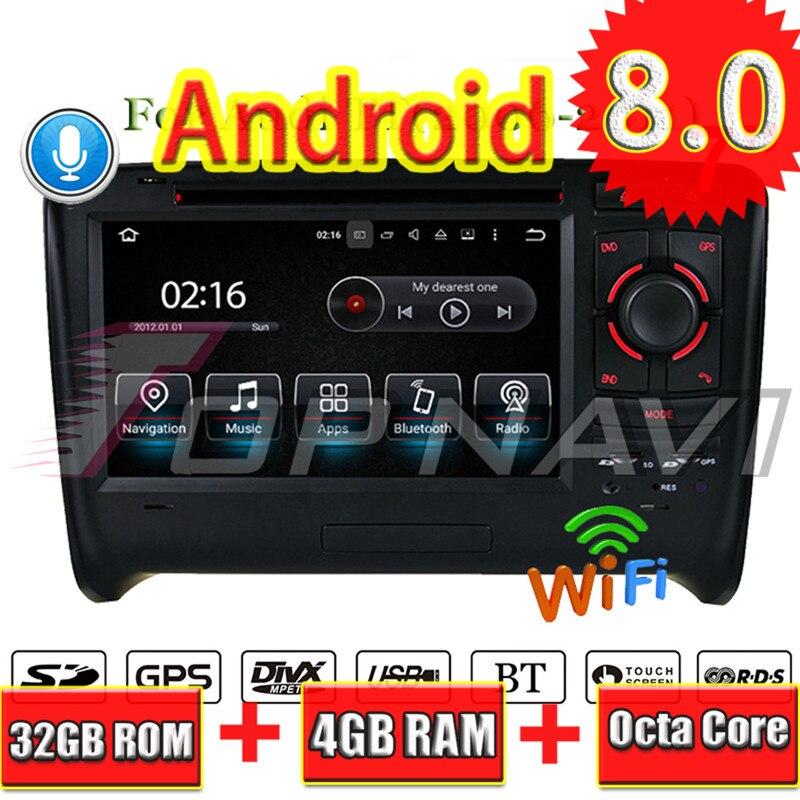 TOPNAVI Android 8.0 Car Radio Stereo Video Player For Audi TT (2006 2007 2008 2009 2010 2011) Car DVD Multimedia GPS Navigation