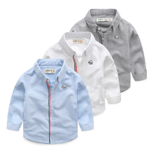 Child solid color shirt male child spring shirt 2016 children's clothing spring baby top fashion long-sleeve